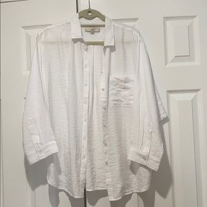 Loft dolman sleeve white button down shirt